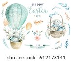 Stock photo  hand drawn watercolor happy easter set with bunnies design rabbit bohemian style isolated boho 612173141