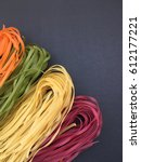 Colorful Italian Pasta On Blac...