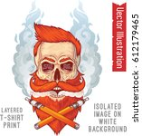 a brutal hipster's skull in... | Shutterstock .eps vector #612179465