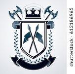 heraldic design  vector vintage ... | Shutterstock .eps vector #612186965