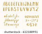set of handwritten gold latin... | Shutterstock .eps vector #612188951