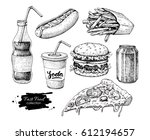 fast food vector hand drawn set.... | Shutterstock .eps vector #612194657