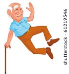 healthy grandfather jumping | Shutterstock . vector #61219546