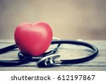close up red heart and... | Shutterstock . vector #612197867