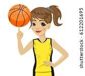 teenager girl spinning... | Shutterstock .eps vector #612201695