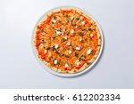 homemade margarita flatbread... | Shutterstock . vector #612202334