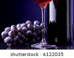 red wine glass bottle grape details - stock photo