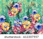 beautiful textile print design  | Shutterstock . vector #612207557