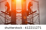 silhouette construction team... | Shutterstock . vector #612211271