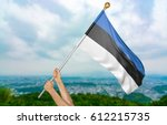young man's hands proudly... | Shutterstock . vector #612215735