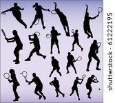 tennis players   vector | Shutterstock .eps vector #61222195