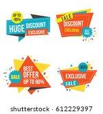origami sale stickers set | Shutterstock .eps vector #612229397