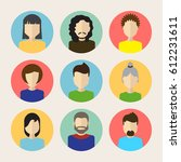 set of male and female faces... | Shutterstock .eps vector #612231611