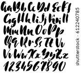 hand drawn font. modern brush...   Shutterstock .eps vector #612240785