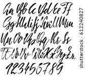 hand drawn font. modern dry... | Shutterstock .eps vector #612240827