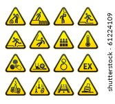 set of triangular warning... | Shutterstock .eps vector #61224109