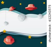 red ufo spaceship fly in space... | Shutterstock .eps vector #612243575