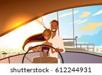 young beautiful couple in love... | Shutterstock .eps vector #612244931