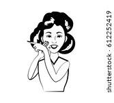 cartoon woman character posture ... | Shutterstock .eps vector #612252419