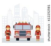 fireman and fire woman. flat... | Shutterstock .eps vector #612252581