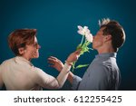 a very angry wife slapping the... | Shutterstock . vector #612255425