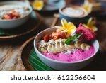 healthy breakfast made of... | Shutterstock . vector #612256604