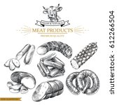set of hand drawn sausages... | Shutterstock .eps vector #612266504