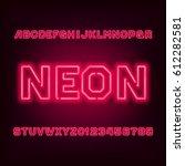 red neon tube alphabet font.... | Shutterstock .eps vector #612282581