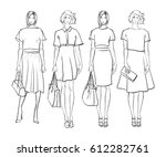 sketch. fashion girls on a... | Shutterstock .eps vector #612282761