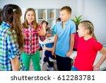 kids discuss something | Shutterstock . vector #612283781