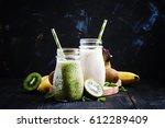 milkshake with kiwi  banana and ... | Shutterstock . vector #612289409