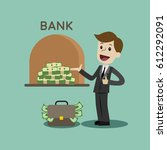 credit. a bank gives out a loan ... | Shutterstock .eps vector #612292091