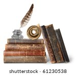 Isolated Books. Stack Of Old...