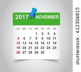 november 2017 calendar.... | Shutterstock .eps vector #612306815