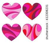 mod swirl pattern hearts | Shutterstock .eps vector #612308231