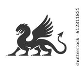 heraldic dragon silhouette logo ... | Shutterstock .eps vector #612311825