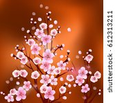 pattern with flowers. apricot  ... | Shutterstock .eps vector #612313211