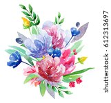 watercolor floral bouquet clip... | Shutterstock . vector #612313697