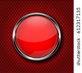 Red Round Glass Button With...