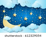 surreal night with big moon and ... | Shutterstock .eps vector #612329054
