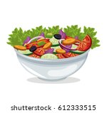 bowl salad vegetables harvest | Shutterstock .eps vector #612333515
