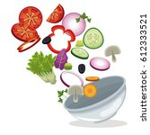 bowl salad vegetables lunch... | Shutterstock .eps vector #612333521