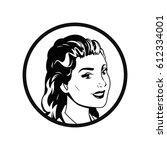 face woman pop art style comic... | Shutterstock .eps vector #612334001