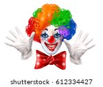 circus clown smiling face with... | Shutterstock .eps vector #612334427