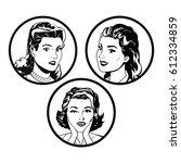 set faces women comic outline... | Shutterstock .eps vector #612334859