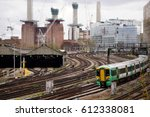 Small photo of LONDON, ENGLAND - MARCH 31 2017: A Southern class 377 train arrives at London Victoria Rail Station during a dispute between Govia Thameslink Railway and trade unions over Driver Only Operation (DOO)