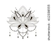 vector ornament lotus. tattoo | Shutterstock .eps vector #612338555