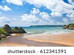 three cliffs bay   gower  wales ... | Shutterstock . vector #612341591