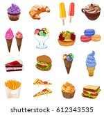 big food colored sketched... | Shutterstock .eps vector #612343535