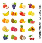 fruits and berries icons... | Shutterstock .eps vector #612352481